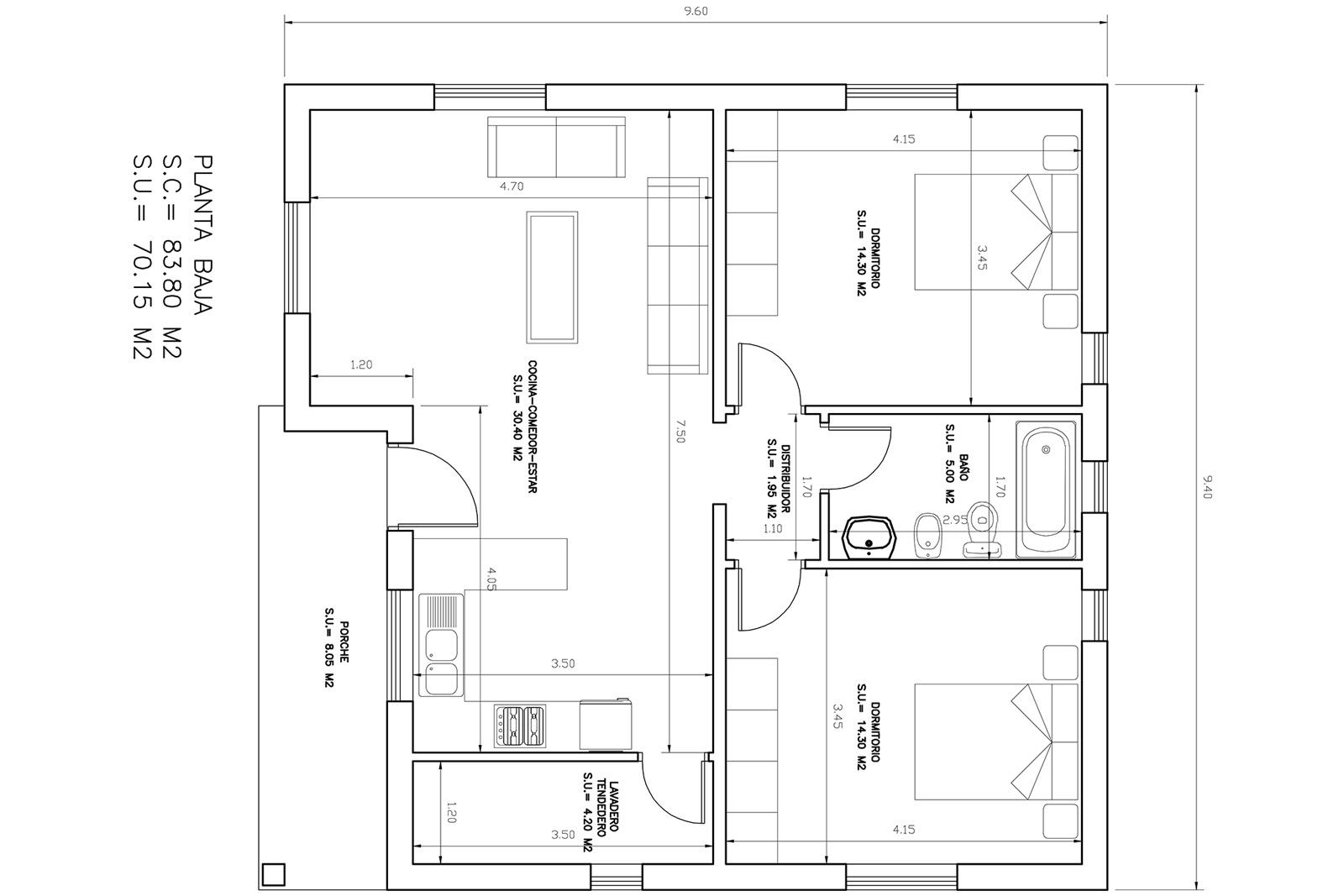 Parcelas y casas casa de piedra 2 dormitorios con parcela for Planos casas unifamiliares